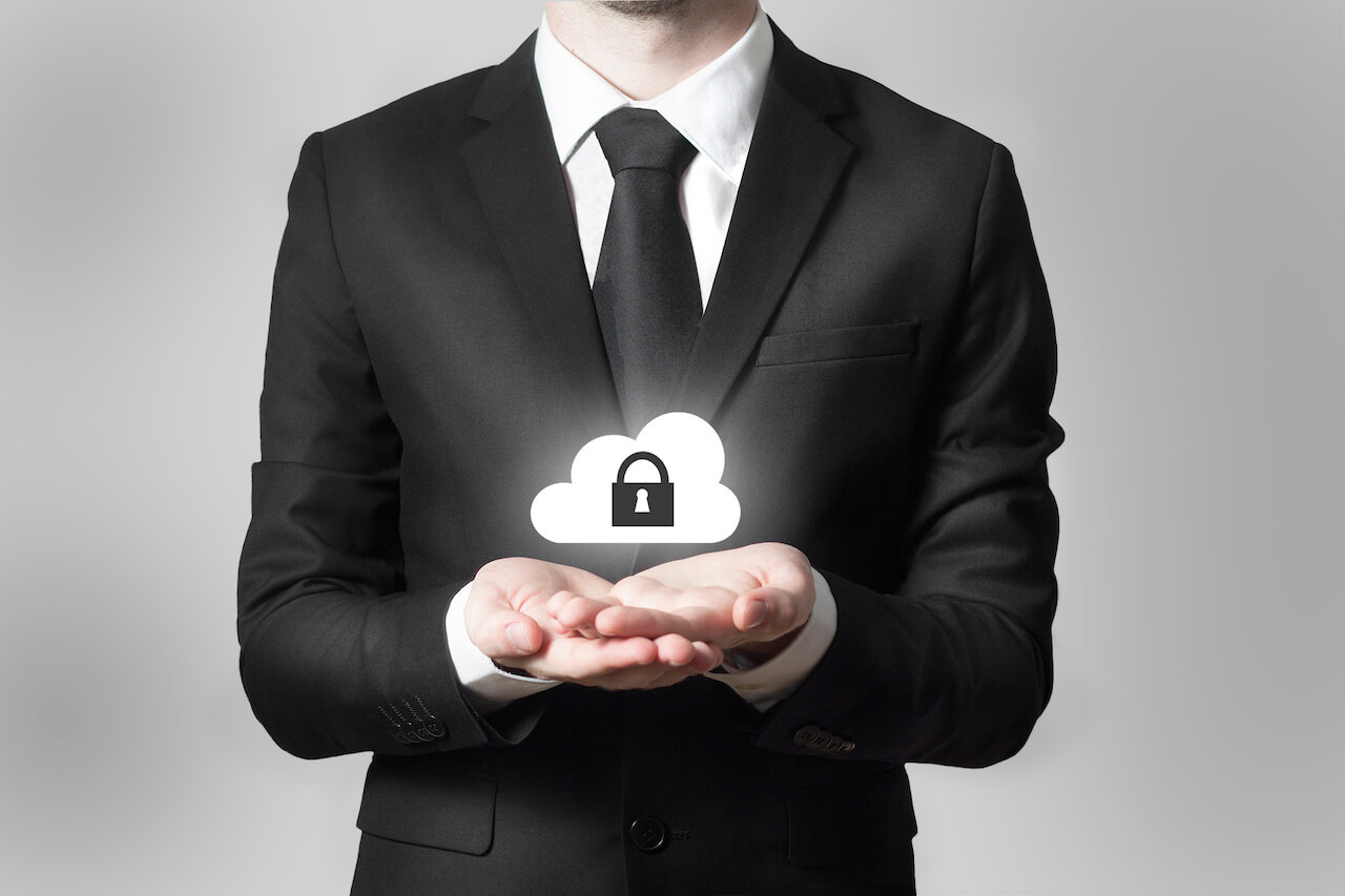 Businessman Serving Gesture Cloud Security Symbol